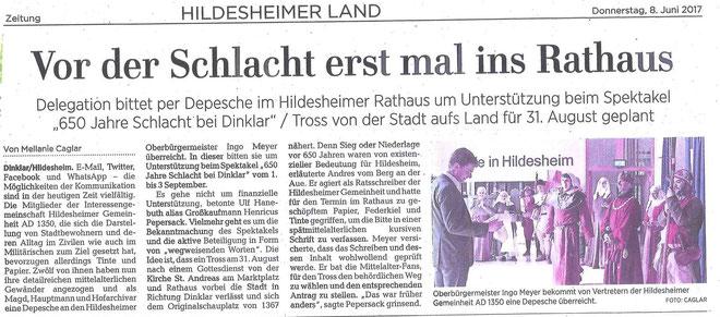 ©Die Hildesheimer Allgemeine Zeitung berichtet am8.6.17