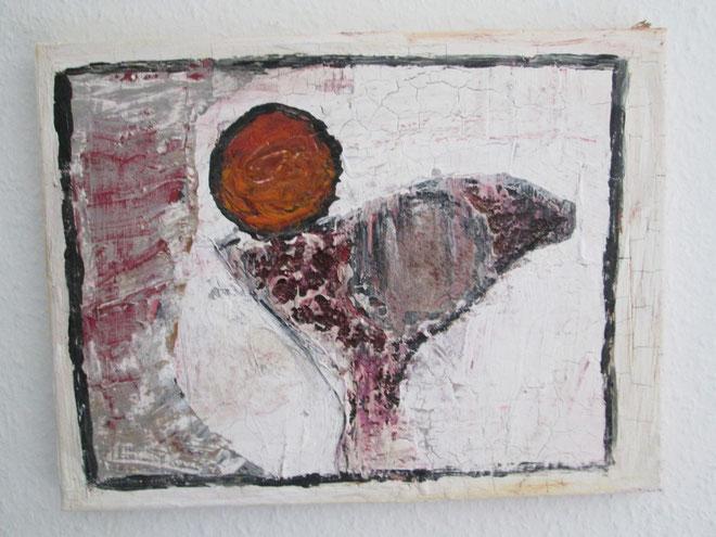 Sonnenuntergang auf Vogel (Acryl, Linsen, Metallglitzer auf Leinwand)