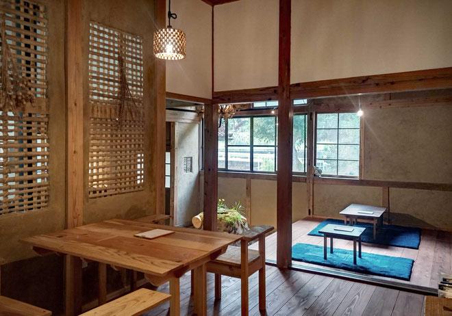 2019年おおなん木の学校で改修した「うづい通信部」 カフェ、民宿として2020年オープン