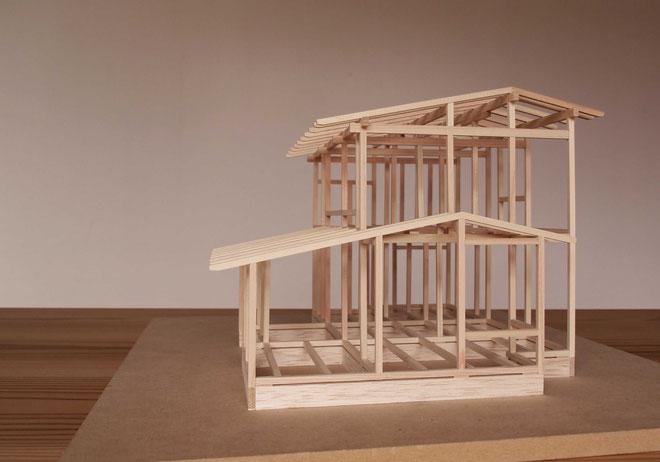 祇園の家 1/30の軸組模型