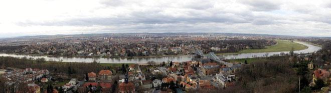 Dresden Panorama von Oberloschwitz gesehen