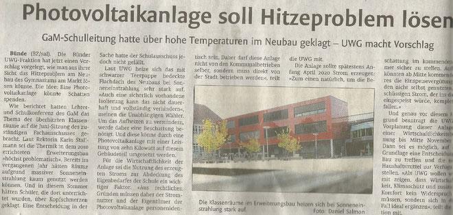 Mit freundlicher Genehmigung der Bünder Zeitung (Artikel vom 27.08.2019)