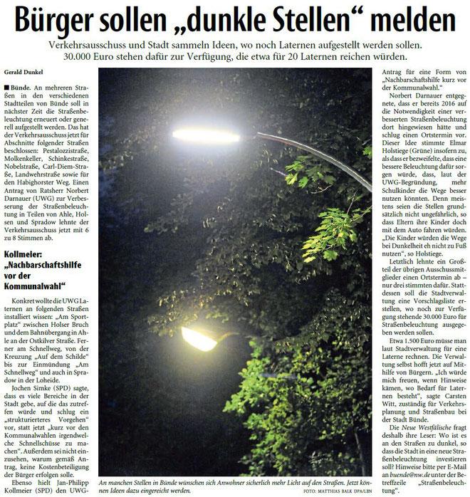 Mit freundlicher Genehmigung der Neuen Westfälischen (Artikel vom 26.06.2020)