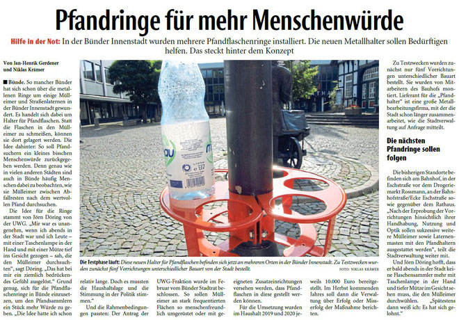 Mit freundlicher Genehmigung der Neuen Westfälischen (Artikel vom 21.08.2019)