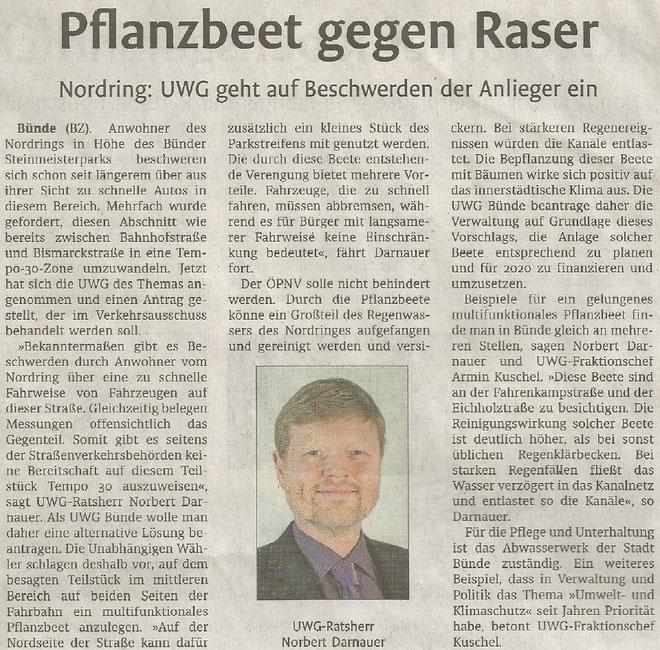 Mit freundlicher Genehmigung der Bünder Zeitung (Artikel vom 13.09.2019)