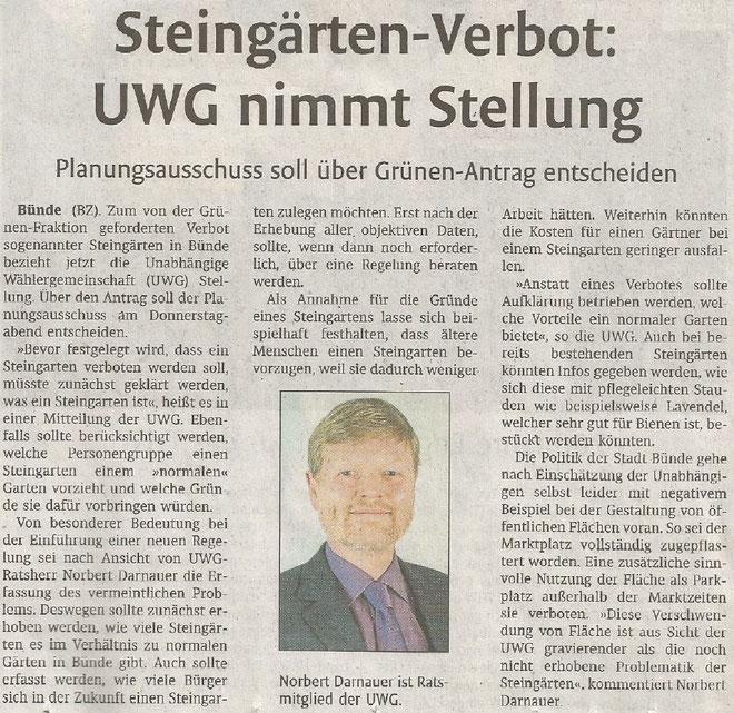 Mit freundlicher Genehmigung der Bünder Zeitung (Artikel vom 04.07.2019)
