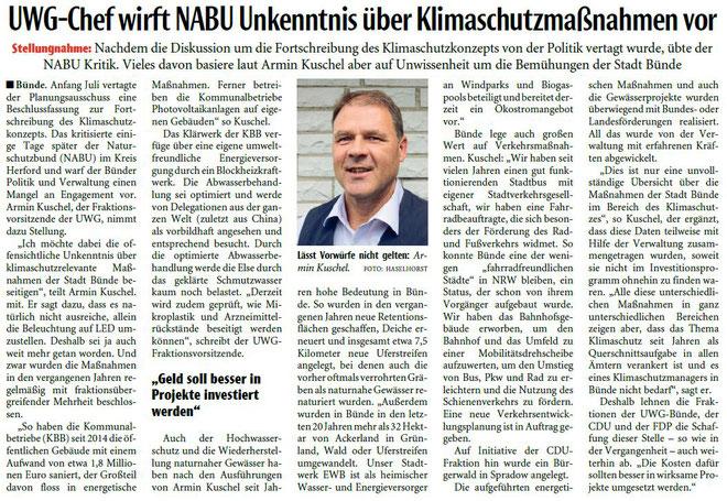 Mit freundlicher Genehmigung der Neuen Westfälischen (Artikel vom 20.08.2019)