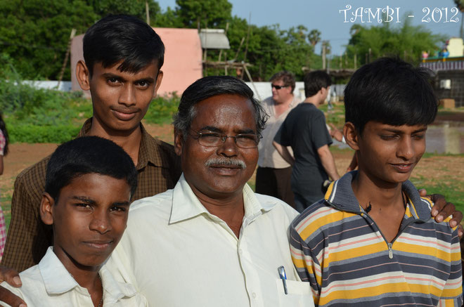 Mr Aruldass with some of the elder boys of Thambi Illam - 2012