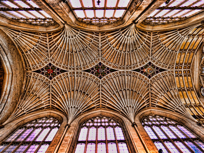 The Abbey Church ceiling of Saint Peter and Saint Paul, Bath, England