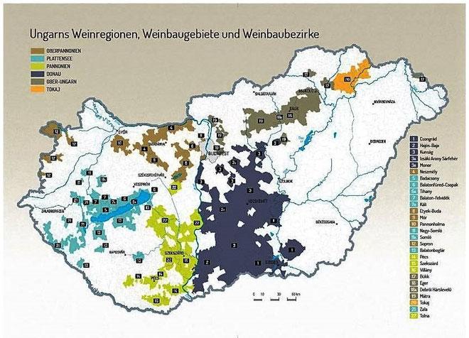 Ungarn Karte Weinbauregionen und Weinbaugebiete