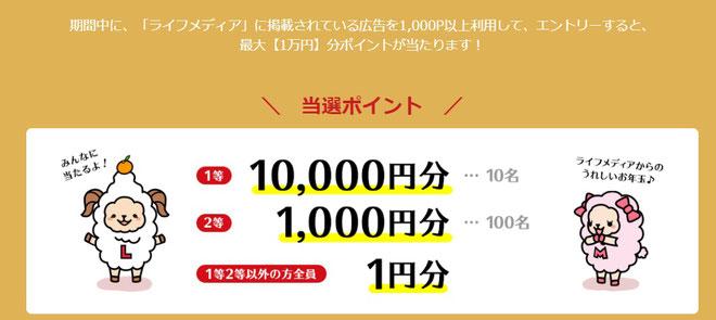 アンケートサイトで1万円当たるきゃんぺーん