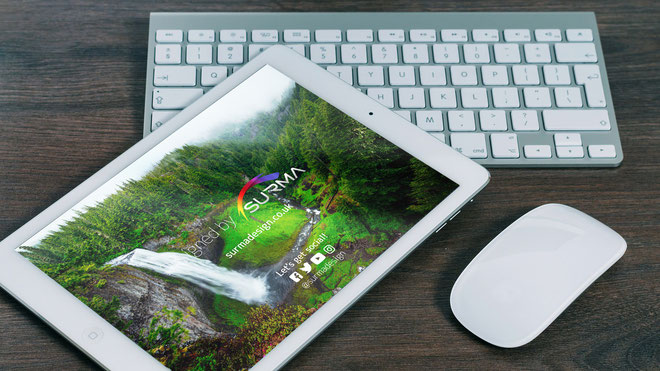iPad with keyboard Free PSD Mockup