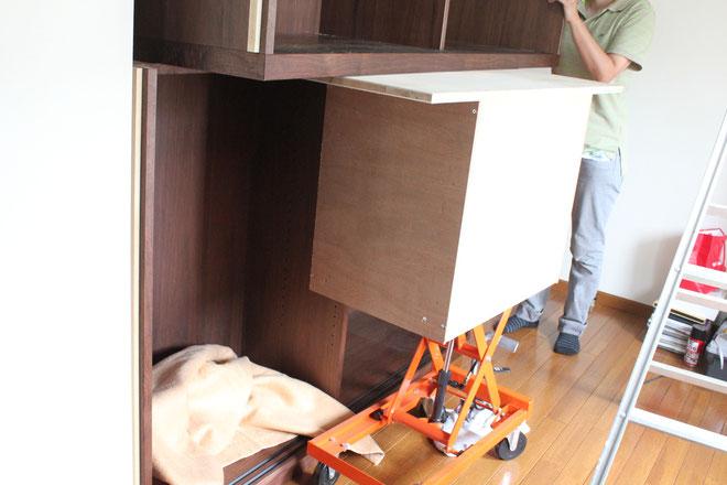 書斎に造り付けした巨大キャビネット(杉並区・K様邸)組み立て