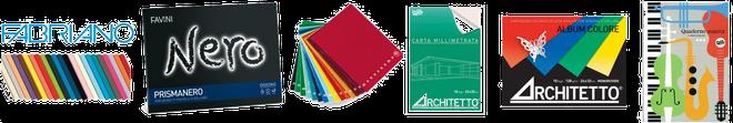 Quaderni, album, cartoncini... tutti prodotti dalle più note cartiere italiane ed europee.
