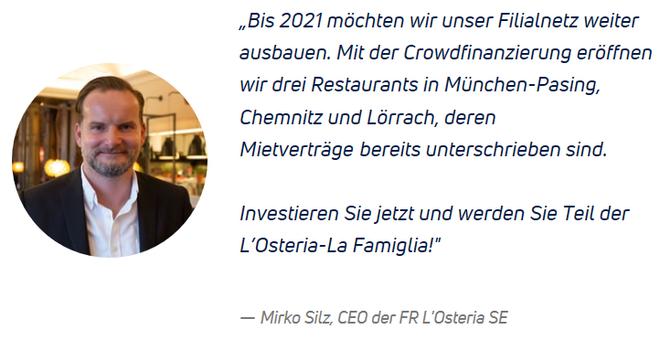 freaky finance, Kapilendo, Mittelstandsfinanzierung, L'Osteria, Restaurants
