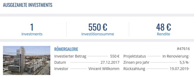 freaky finance, Exporo, Projekt Römerhöfe, Rückzahlung, Projektdetails, Immobilien-Crowdinvesting