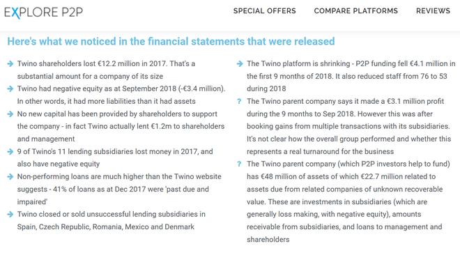 freaky finance, Finanzbericht der Twino-Gruppe für 2017, Zusammenfassung von Explore P2P