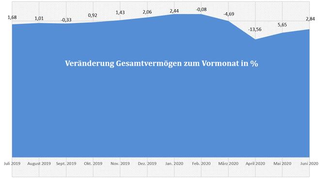 freaky finance, Gesamtvermögen, prozentuale Veränderungen der letzen 12 Monate, Diagramm