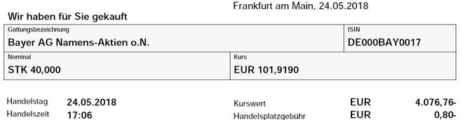 freaky finance, FreeBuy, Onvista, Bayer, 40 Stück, Aktienkauf, Wertpapierabrechnung