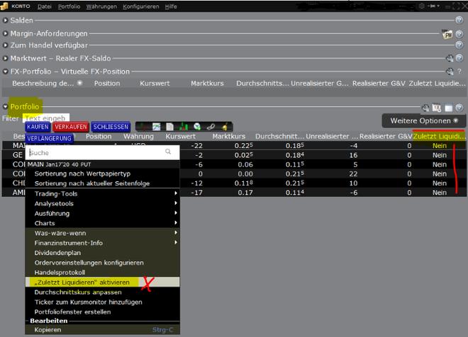 TWS, TraderWoekStation, Banx, Position zuletzt liquidieren
