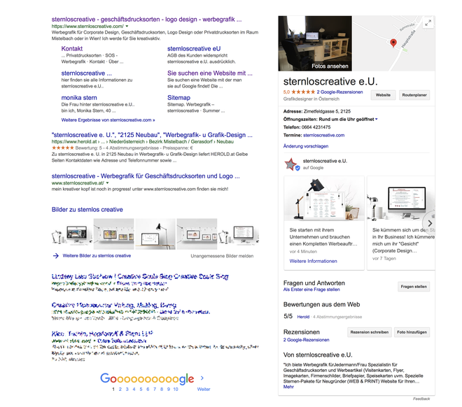 Sternloscreative Ansicht  mit Google My Business