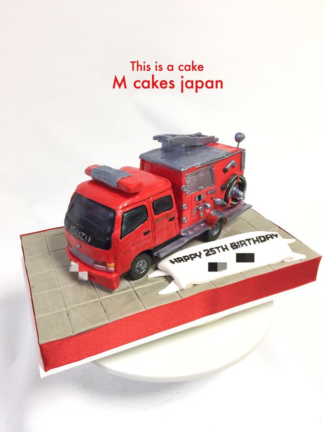 消防車ケーキ🚒  #消防車 #消防車ケーキ #日本 #車 #働く車 #fireworks #truck #firetruck #Japan #fondantcake #firetruckcake #isuzu #japanesecake