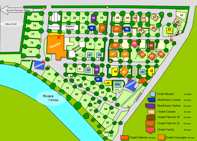 Camping Gers - plan du camping de l'arros