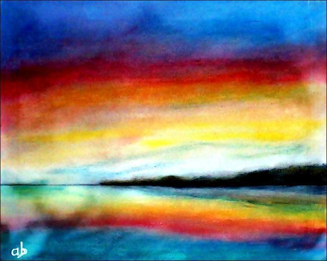 Sonnenuntergang an der Küste-Pastellgemälde-Meer-Sonnenuntergang-Klippee-Steilküste-Wasser-Himmel-Landschaftsmalerei-Pastellbild-Pastellmalerei