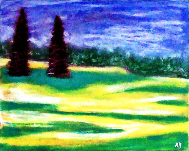 Bäume und Wiese-Pastellgemälde-Wald-Bäume-Wiese-Feld-Sommer-Himmel-Wolken-Landschaft-Zeitgenössische Malerei-Pastellbild-Pastellmalerei