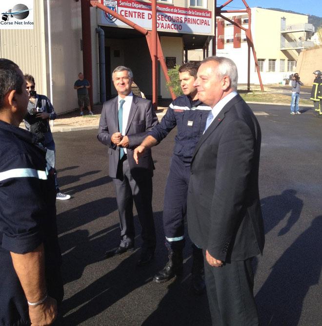 Le directeur général de la Sécurité s'est rendu à Corte et jeudi matin, il a été accueilli à Ajaccio par le préfet de région, Patrick Strzoda. (Photos J.F)