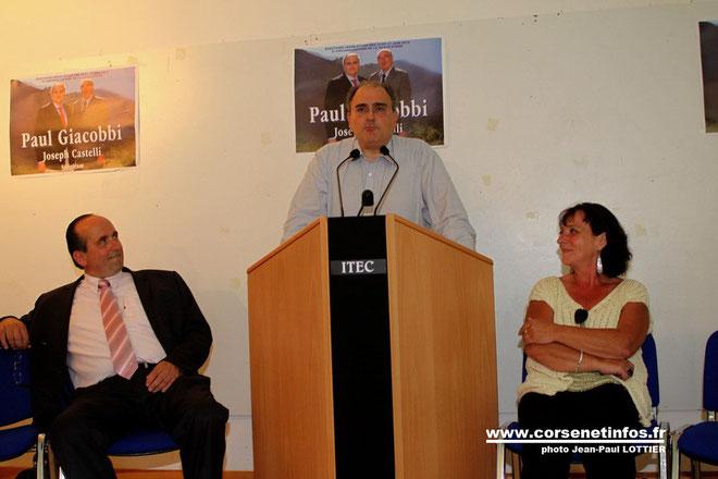 Paul Giacobbi entouré de Pierre Guidoni et Restitude Poiron