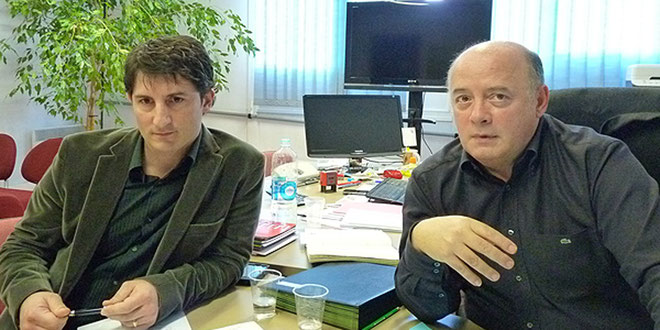 Nicolas Zammatora (à gauche) en compagnie de Bernard Giudicelli, directeur de la Mission locale de Bastia