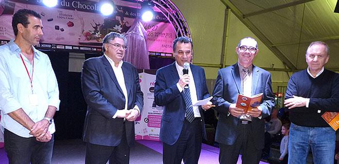 Autour de François Tatti, Paul Pierinelli, Alain Claudot,directeur général d'Ecotlc, Jean-Pierre Giordani et François Fariinacci