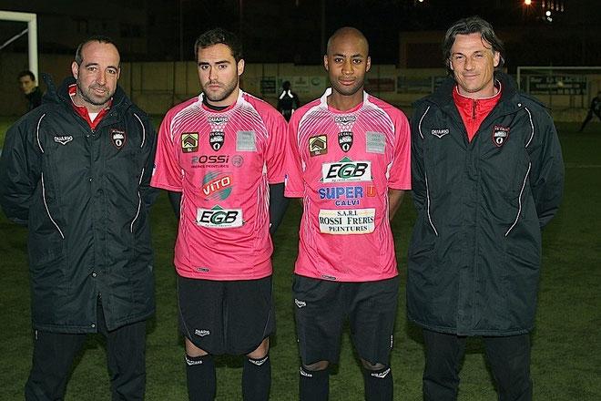 Lesueur et Bertin D'Avesnes entourés des deux coachs Didier Santini et Christian Vannucci
