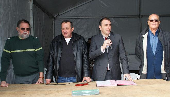 Les signataires de la convention : Louis Olivier Directeur régional de l'ONF, Fredy Orsini COFOR Haute-Corse, Jean-Christophe Angelini président de la SAEML Bois énergie (CTC), Paul-Joseph Colonna, COFOR Corse-du-Sud.