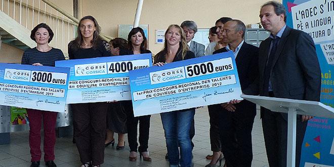 Les trois lauréates, Catherine Bremond, Barbara Lengen, Katia Duvermy, Gilles Giovanangeli et Jean Zuccarelli