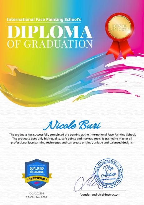 Diplom mit Auszeichnung der International Facepainting School