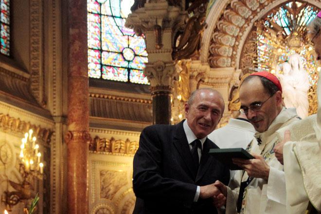 Cardinal Philippe BARBARIN, Archevêque de Lyon et Gérard Collomb, maire de Lyon- Photo © Anik Couble