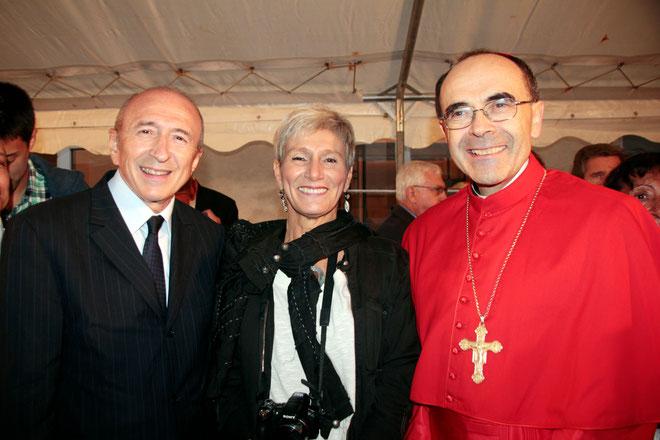 Cardinal Philippe BARBARIN, Archevêque de Lyon, Pascale MILLET et Gérard COLLOMB, maire de Lyon - Photo © Anik Couble