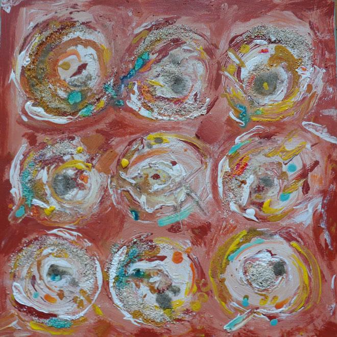 neuf ronds et quelques grains de sable, 50 x 50 cm, 2015, 147 euros