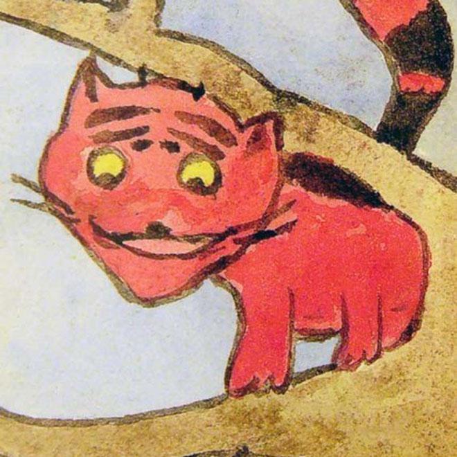 Рисунок Вел. Кн. Анастасии. Кот на дереве. Рисунок на почтовой открытке 1913 год