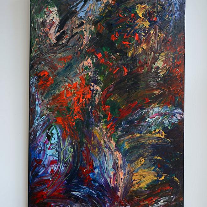 Titel: Into the woods, 80 x 120 cm, Acryl, Maart 2018. Prijs € 700,=