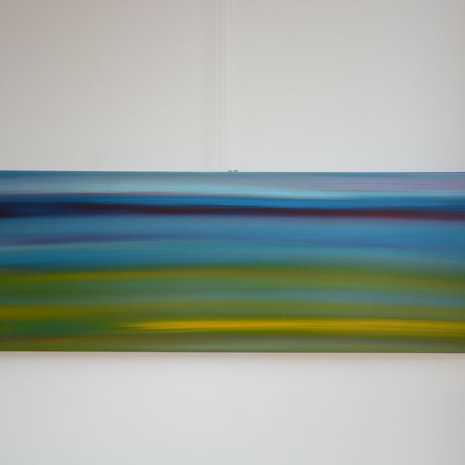 Titel: Avondblauw, 40 x 120 cm, Acryl met vernis. Maart 2018. Prijs € 320,-