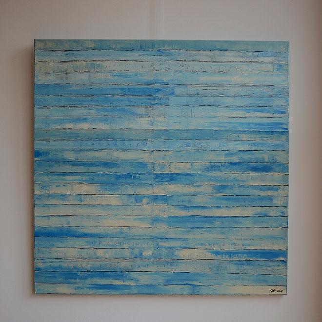 Titel: 'Seaside blue'  100 x 100 cm linnen, acryl, glanzend afgelakt, februari 2018, prijs € 600,=