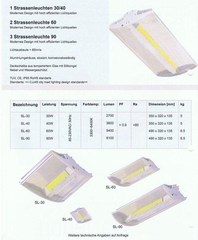 LED Strassenleuchte 30/40, 60, 90 Watt