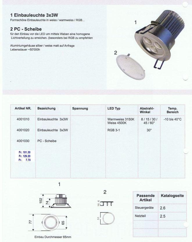 LED Einbauleuchte 3x3 Watt