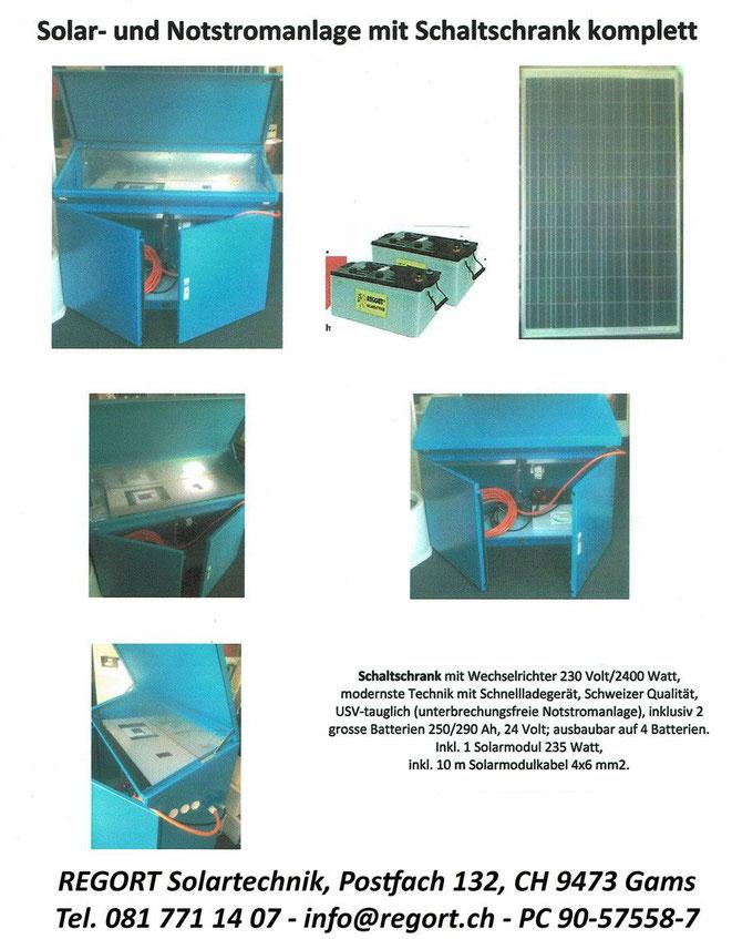 Schaltschrank mit Wechselrichter 230 Volt / 2400 Watt, USV, gr. Batterien, Solarstrommodul 235 Watt