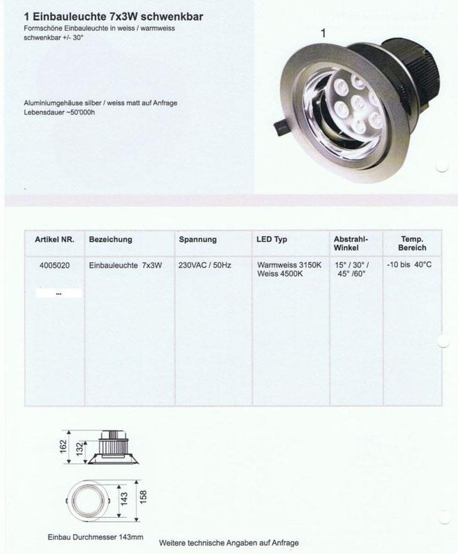 LED Einbauleuchte 7x3 Watt, schwenkbar