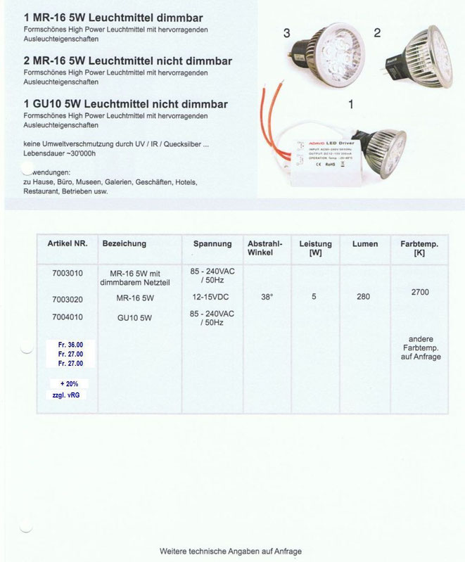 LED Leuchtmittel MR-16 5 Watt, auch dimmbar, GU10 5 Watt, n. d.