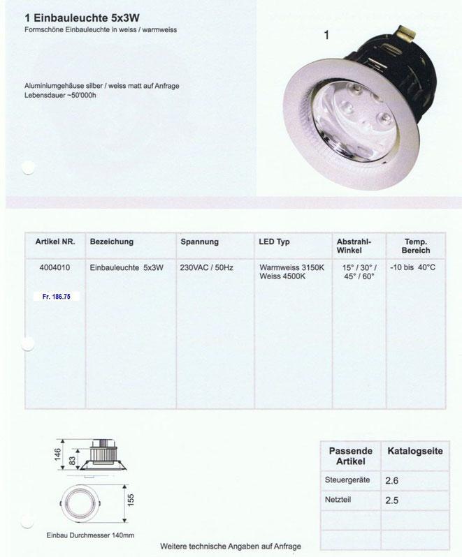 LED Einbauleuchte 5x3 Watt